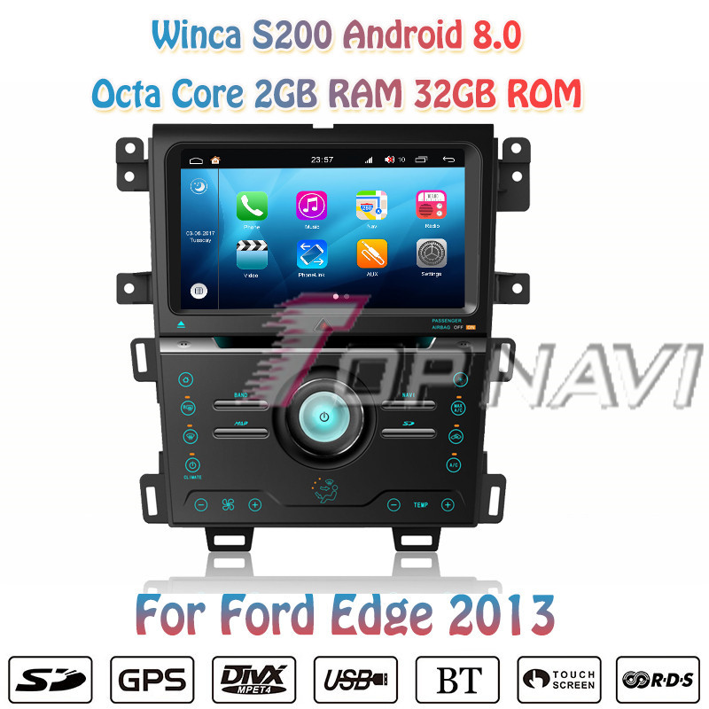 Topnavi 9'' Octa Core S200 Android 8.0 Car DVD Multimedia Player for Ford Edge 2013 Audio Radio Stereo 2DIN GPS Navigation Video