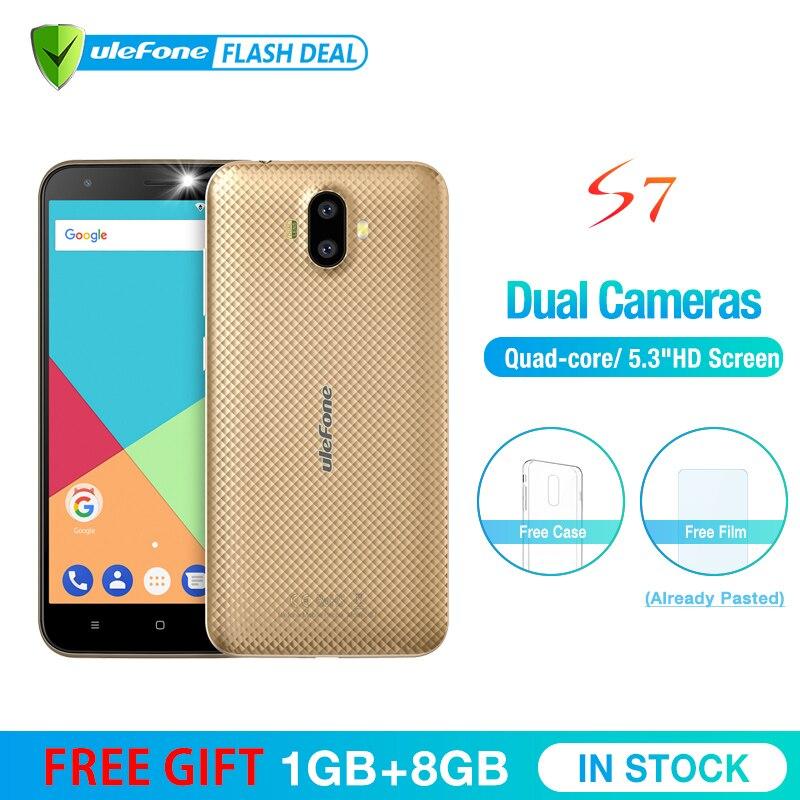 Ulefone S7 1 GB + 8 GB Smartphone 5,0 pulgadas IPS HD pantalla Android 7,0 Cámara Dual 3G teléfono móvil