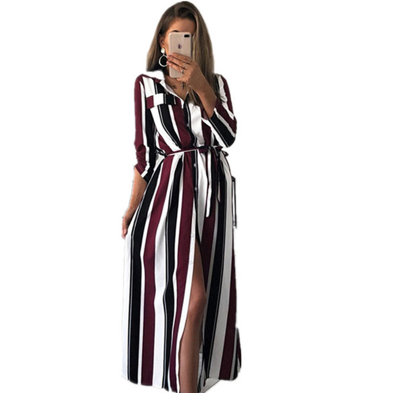 Party Dress Office Ladies Striped Sashes Long Dress Women Turn Down Collar Beach Shirt Dress Casual Fashion Women Elegant Dress in Dresses from Women 39 s Clothing