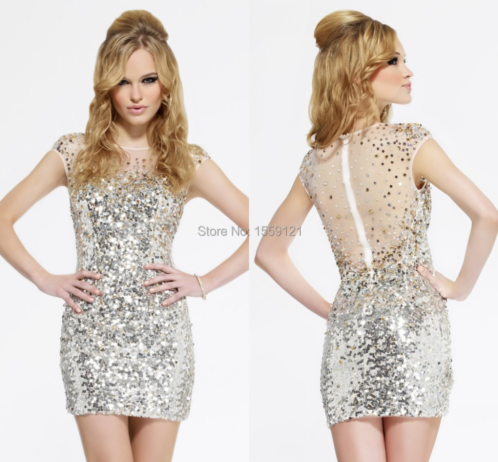 2017 Bling Bling Silver Sequin Sheer Cocktail Dress Mini Short Party ...