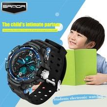 Nouveau mode SANDA marque enfants de sport montre LED numérique montre de quartz enfants garçon fille étudiants multi-fonction montre