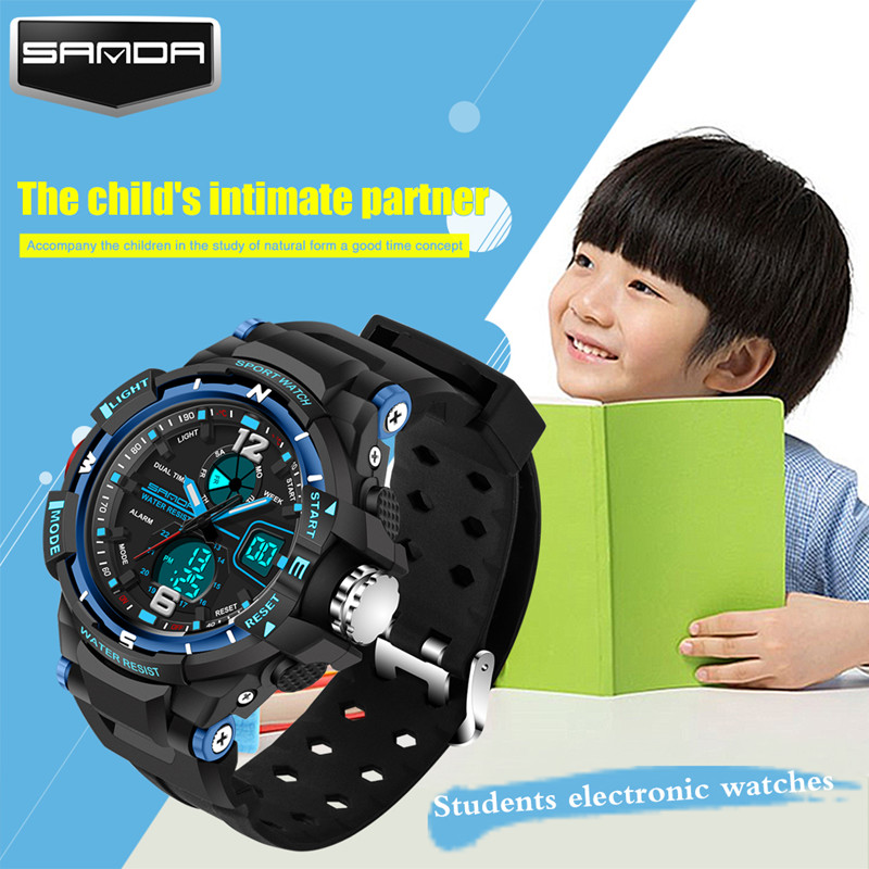 Prix pour Nouveau mode SANDA marque enfants de sport montre LED numérique montre de quartz enfants garçon fille étudiants multi-fonction montre