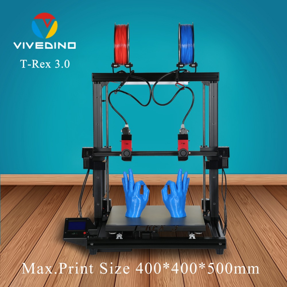 Large 3D Printer With Independent Dual Head Carriage And