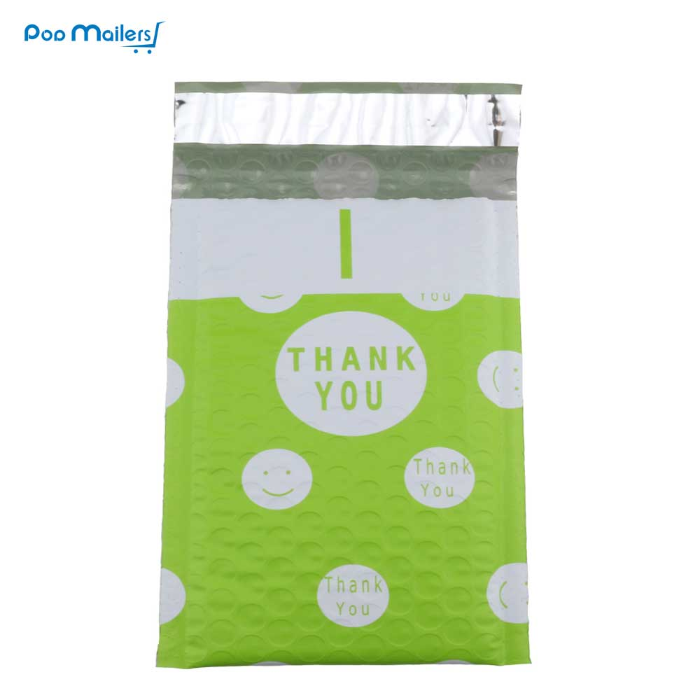 10pcs Poly Bubble Mailers 175*230mm Bubble Envelopes Green Creative Dot THANK YOU Pattern Bubble Lined Poly Mailer