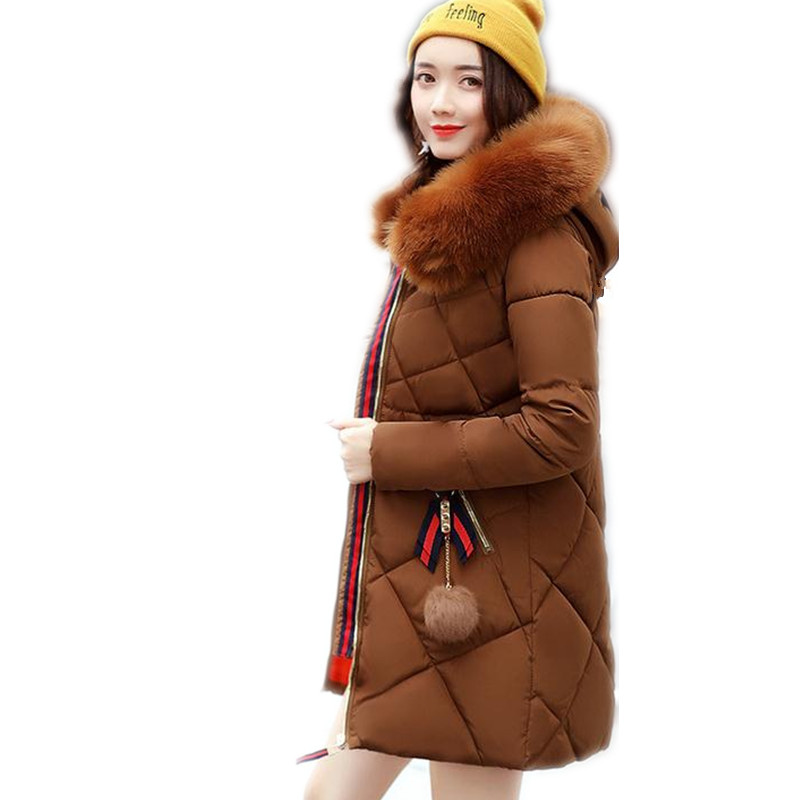2017 New Fashion Winter Women Down Cotton Jacket Parka Female Hooded Soft Fur Collar Medium-Long Thicken Slim Cotton Parka CQ334 eral 2015 new fashion high quality women s soft hooded slim medium long down jacket afa6016