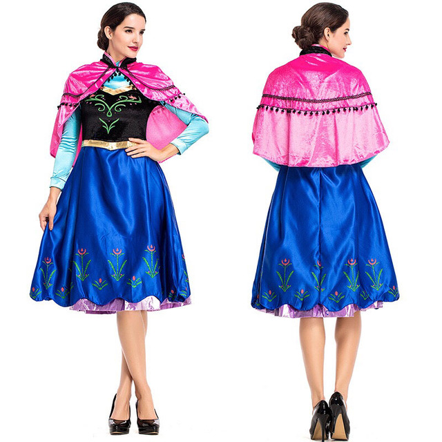 Adult Women Halloween Cartoon Movie Anna Princess Costume Fancy Elegant Dress Cloak Cape Set Cosplay Clothing For Ladies S-XL