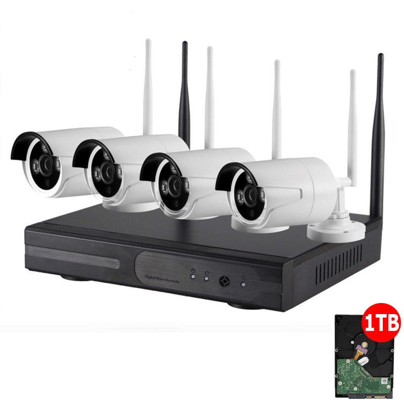 1TB HDD Plug and Play 4CH Wireless NVR Kit P2P 720P HD font b Outdoor b