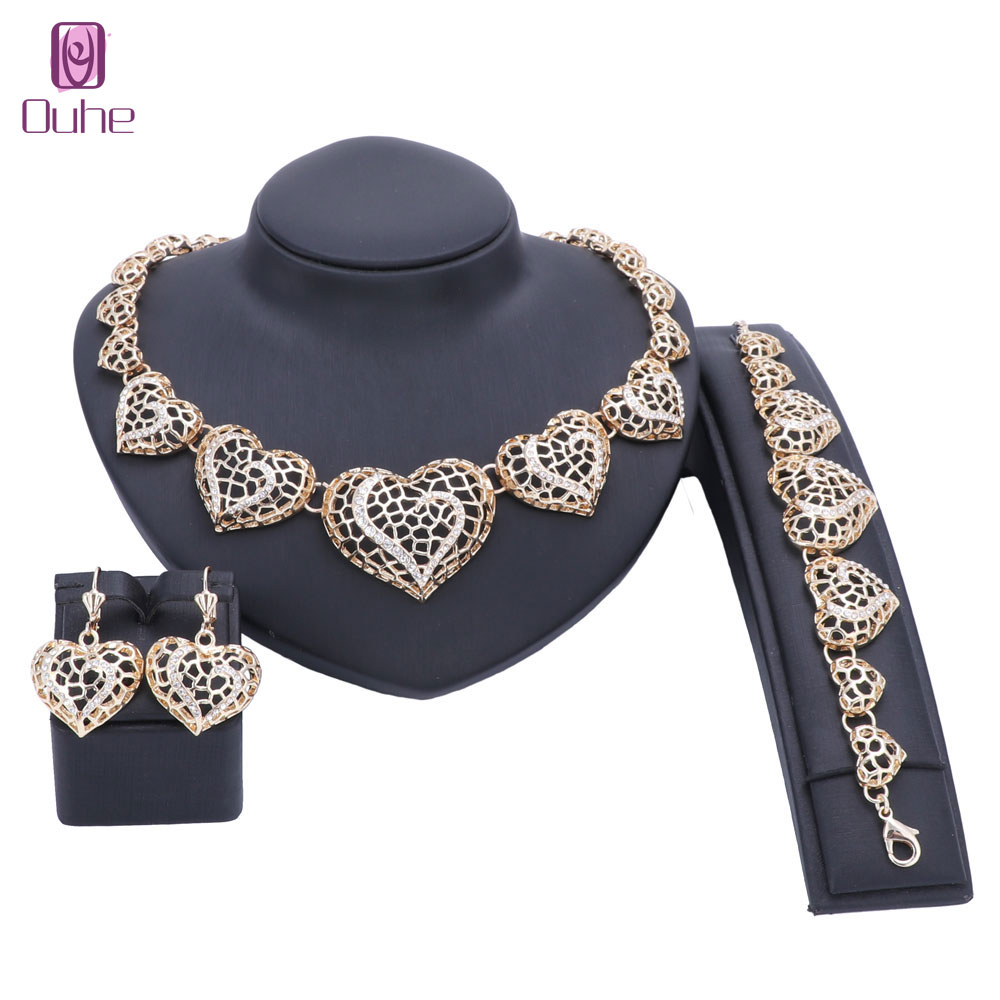 African Beads Jewelry Set Gold Color Crystal Heart Wedding Necklace Bangle Earring Bridal Gift Jewelry Set