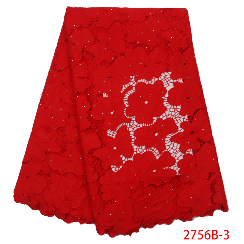 New Arrival African Red Cotton Lace Fabric High Quality Guipure Lace Fabric Nigerian Cord Milk Laces For Women KS2756B-3