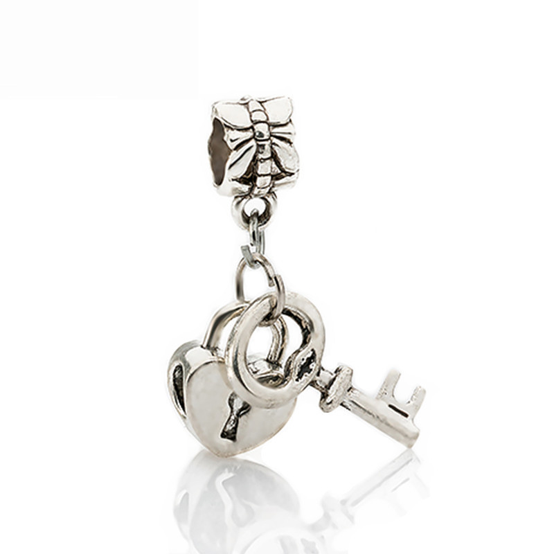 Free Shipping 1Pc Silver Bead Charm European Silver with Love Lock key Charm Pendant Bead Fit Pandora Bracelet