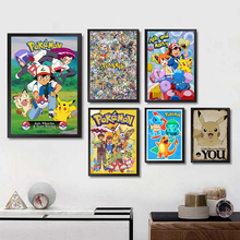 Pokemon Japanese anime Posters Wall Sticker Good Quality Glossy Paper Wall Decoration Livingroom Children's decorative paintings цена