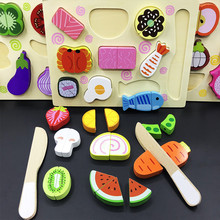 Childrens magnetic fruit Kitchen Toys Set cognition Model Building Kits, pretend play toy Fruit jigsaw puzzle wooden toys