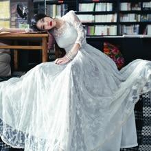 [ЛИНЕТТ CHINOISERIE-MOK] весна женщин вырез развертки кружева вышивка белый one-piece dress