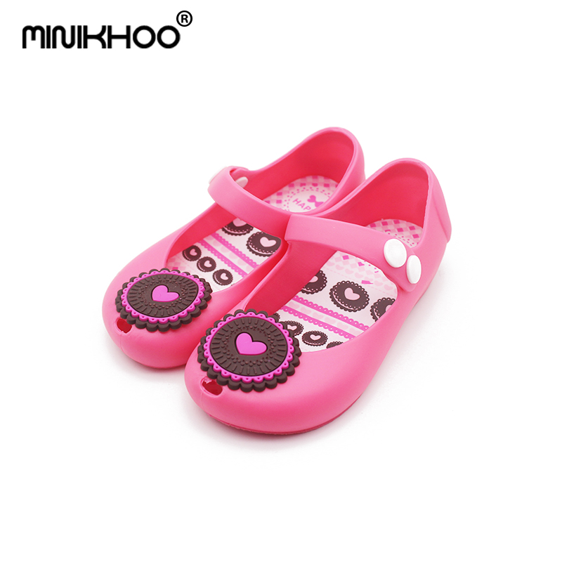Mini Melissa Cookies Biscuits Girls Jelly Sandals 2018 New Brand Summer Melissa Children Shoes Non-Slip Breathable EUR24-29