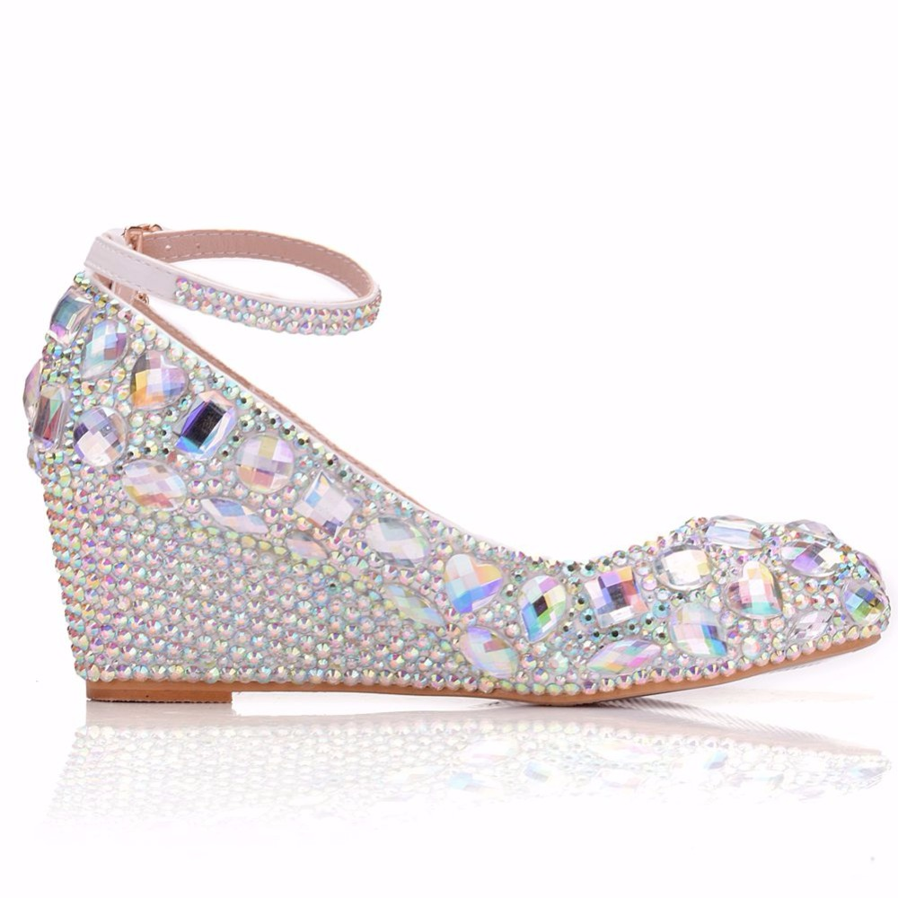 5fcdcb5b3c6006 Crystal Queen Womens Wedding Shoes Woman High heels Pumps Bling Shining  Platform Wedge shoes Ladies Party. sku  32949648670