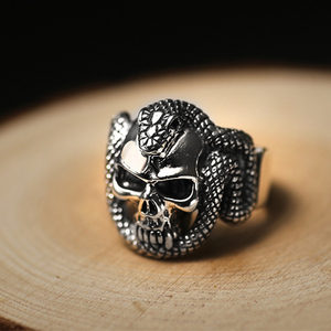 Image 4 - ZABRA 100% 925 Sterling Silver Skull Ring Men With Snake Big Punk Rock Gift For Biker Man Rings Silver Gothic Jewelry