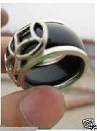 จัดส่งฟรี>>>@@ราคาขายส่ง16new ^^^^ใหม่!เงินจีนทิเบตของผู้ชายสีดำและแหวนหยกสีเขียว