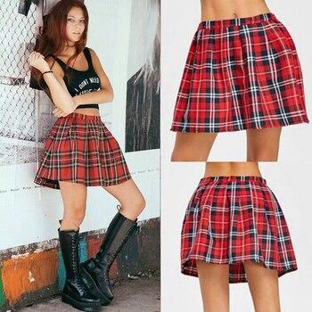 High Quality School Uniform Skirt Fashion Plaid Short Skirt Pleated Cotton Skirt Women Casual Japanese Preppy Mini Skirt 2