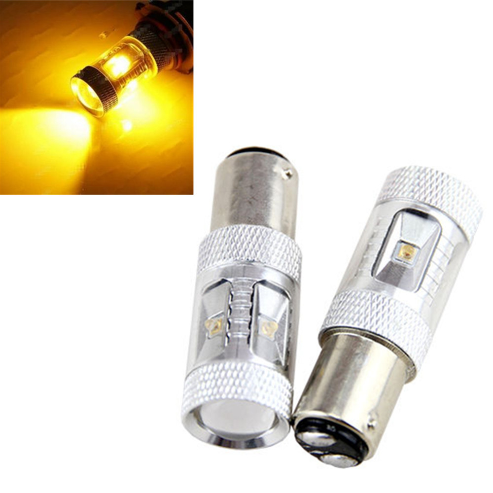 CYAN SOIL BAY 1 Pair 1157 30W BAY15D P21/5W High Power Dual Beam LED Brake Bulb Amber Yellow Front Turn Signal Fog Light Lamp