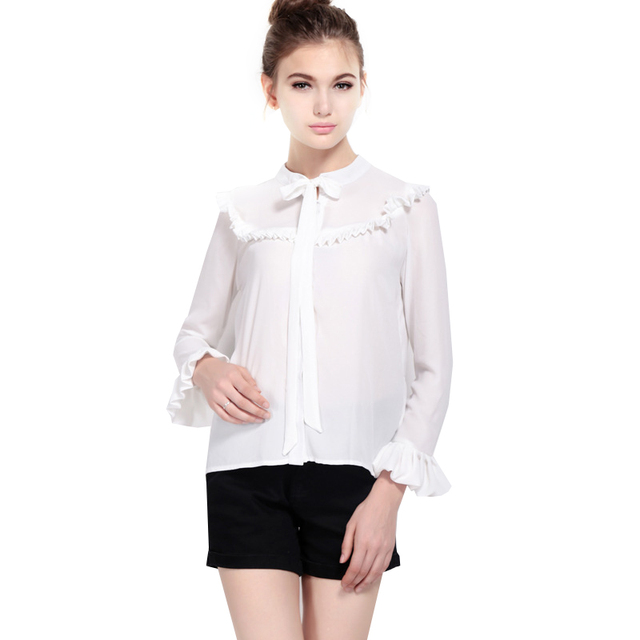 99cc9df0a99 Rufffles chiffon blouse flare sleeve white shirt tie up front stand collar  bow long sleeve shirt tops WE188