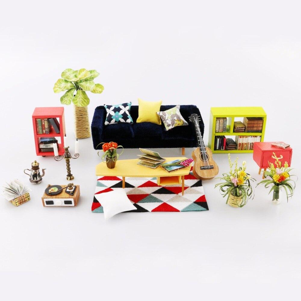 Robotime DIY Locus Sala de estar con muebles Niños en miniatura Casa - Muñecas y accesorios - foto 4