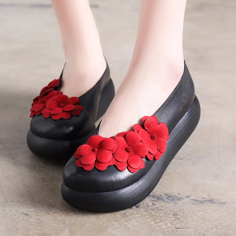 Tyawkiho Genuine Leather Women Flower Pumps 6 CM High Heels Retro Handmade Women Leather Pumps Slip On Wedge Shoes 2018 Spring artmu women high heels shoes two kinds of wear methods shoes female handmade leather shoes women pumps slip on shoes