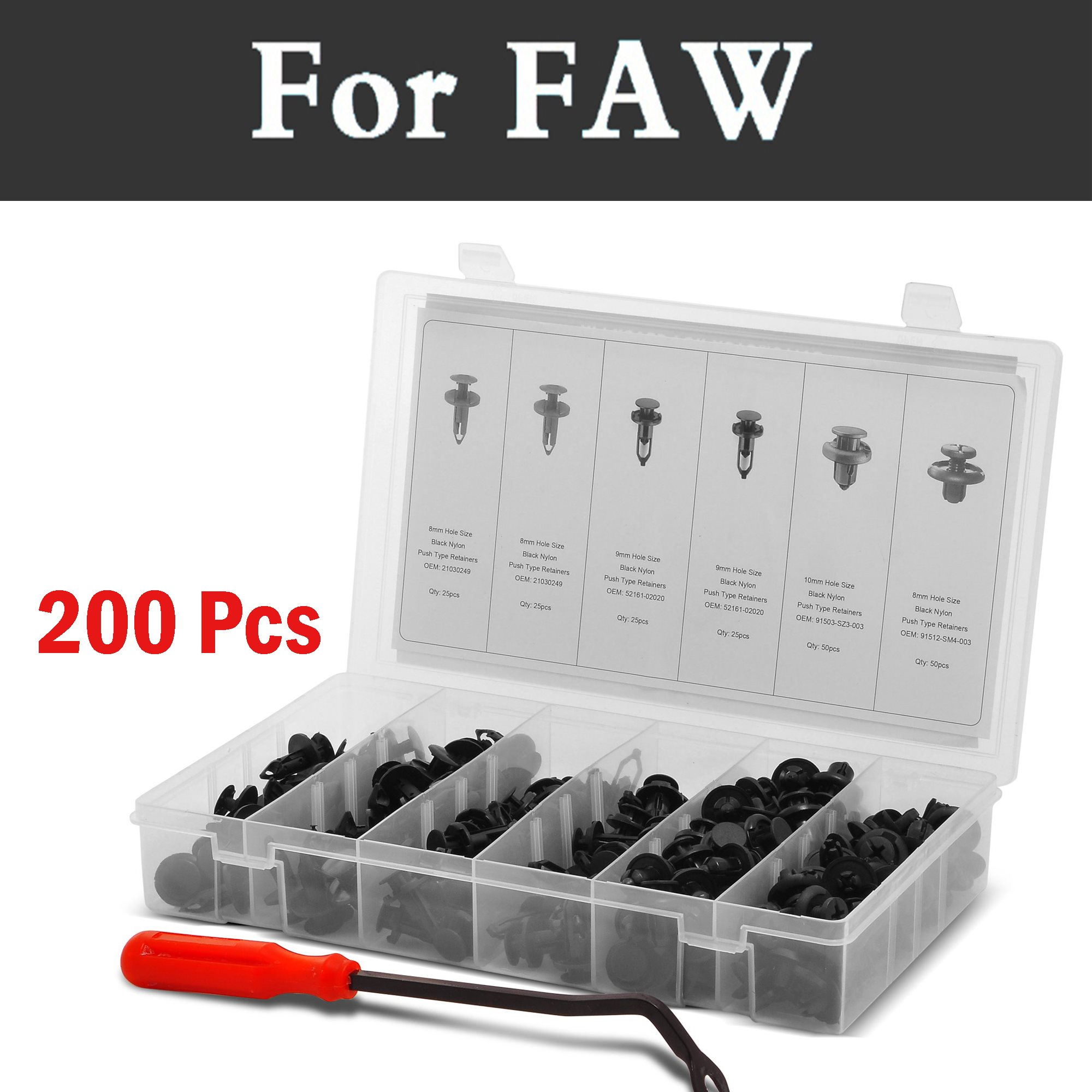 200 pcs Bumper Push Pin Rivet Empurre Retentor Fixadores Kit Se Encaixa Rebites para Faw Besturn B50 B70 X80 Gênios Oley Vita V2 V5