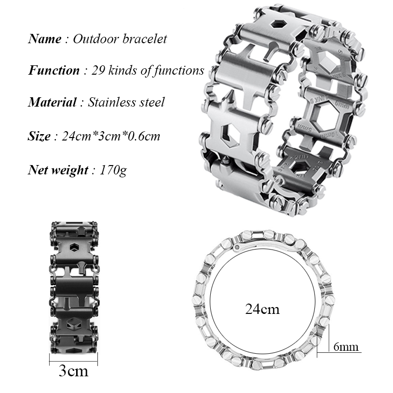 Creative 29in1 Stainless Steel Multifunction Bracelet Wristband Screwdriver Bottle Opener Outdoor Survival Emergency Tools 4