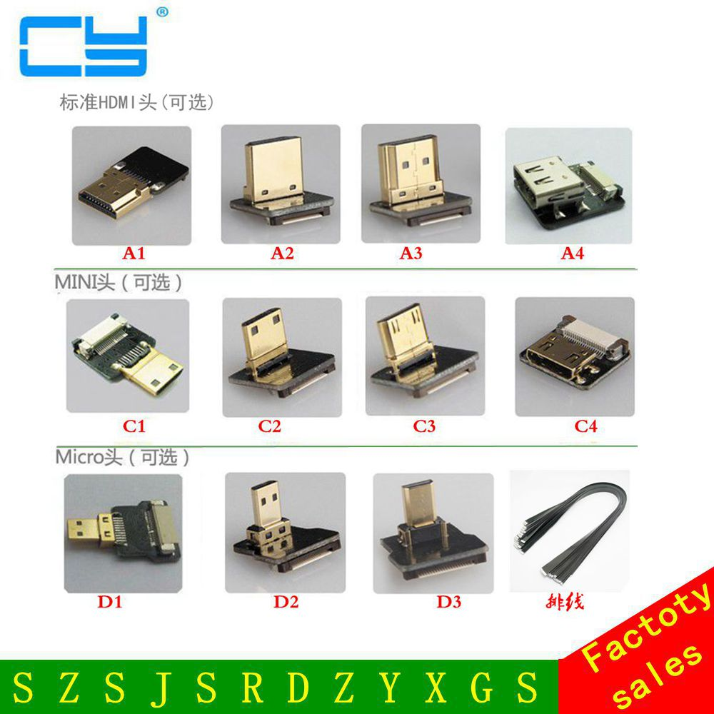 FPV-системы Micro HDMI Mini HDMI 90 градусов адаптер 5 см-100 см Гибкие печатные платы ленты плоский кабель HDMI шаг 20pin для MultiCopter аэрофотосъемки