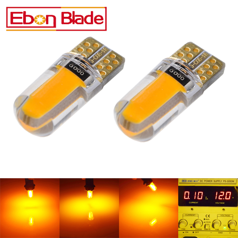 2 X Yellow Amber Led T10 W5W COB Car LED Lighting Marker Lamp Interior Side Light Warning Parking Clearance Bulb Lights 12V Auto