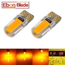 Lâmpada led amarela e âmbar t10 w5w, 2 led, cob, luz de marcador de iluminação para interior, luz lateral, lâmpada de advertência para estacionamento luzes 12v auto