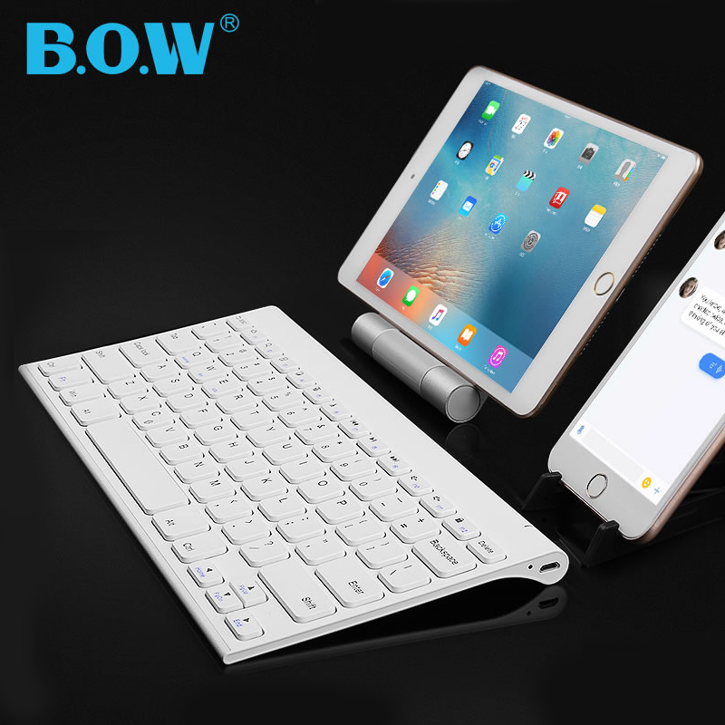 B.O.W 7 Colors Backlight Slim Bluetooth Wireless Keyboard Matte Metal Rechargeable Keyboards For Tablets,Laptops And Smartphones