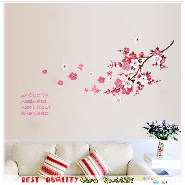 Sakura Flor De Pared Tatuajes De Henna Flores Rama Pegatinas De