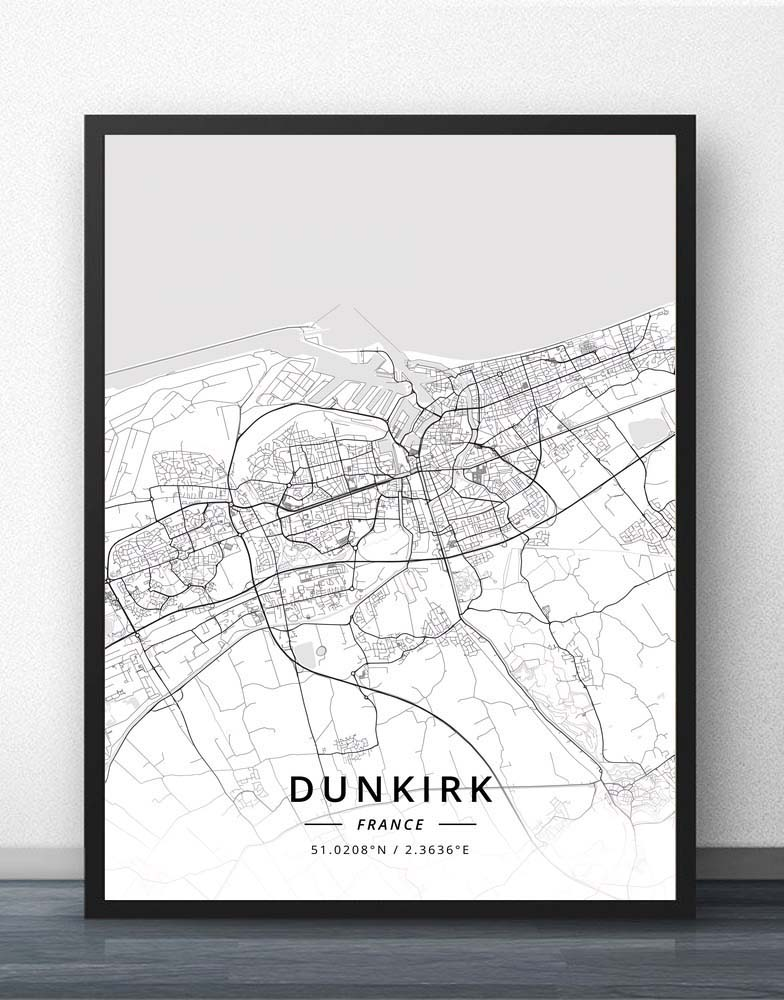 Dunkirk Grenoble La Rochelle Laval Le Havre Lille Limoges Lyon Marseille Metz Montpellier Mulhouse Nancy France City Map Poster