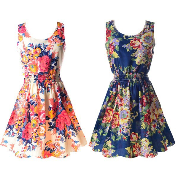 19 Summer Sundress Fashion Women Sexy Printed Chiffon Sleeveless A-line dress Beach Floral Tank Dresses 3