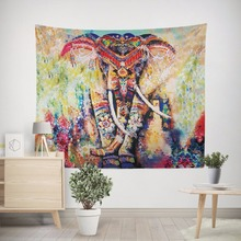 Indian national style color elephant tapestry home cloth decoration hanging painting 3D printed environmental ornament