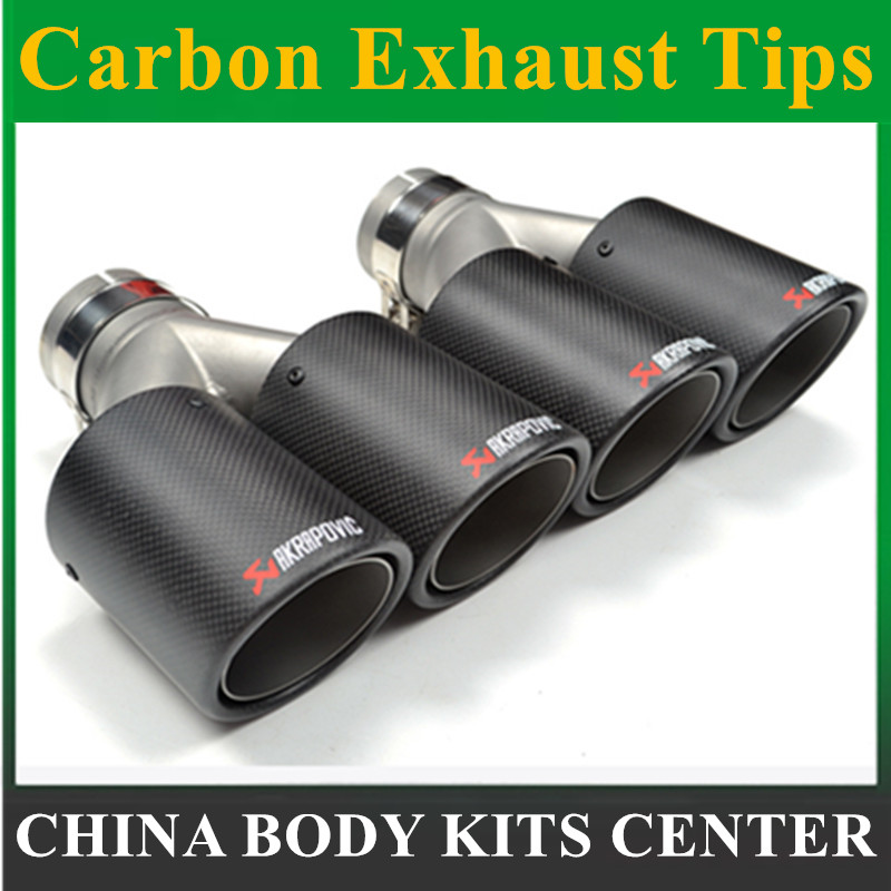 1PCS Dual AKRAPOVIC carbon fiber + Stainless Steel exhaust tip exhaust pipe muffler Matt Silver Exhaust Tip jzz 1pcs akrapovic car exhaust pipe