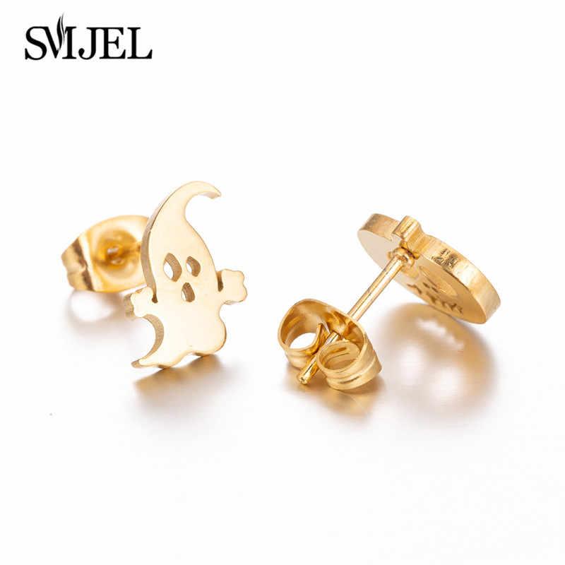SMJEL, pendientes de tuerca de acero inoxidable múltiples para mujeres y niñas, pendientes de música de cráneo fantasma minimalistas a la moda, joyería Punk, regalos