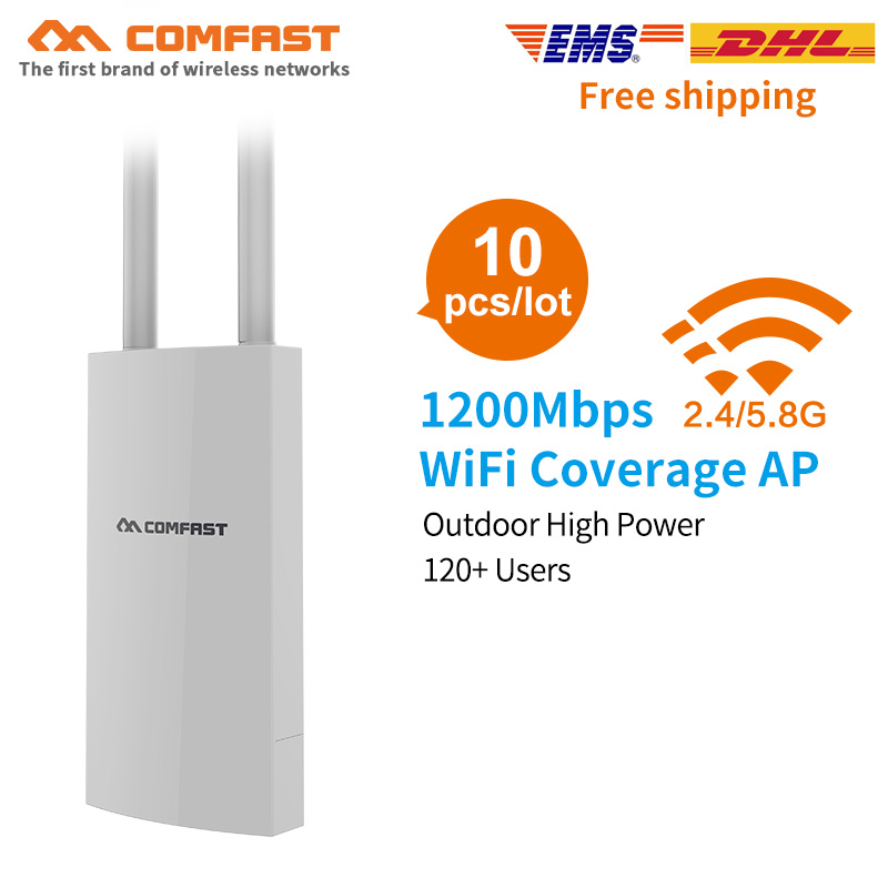 10pcs COMFAST High Power Outdoor Wireless Router CPE 500mW 1200Mbps Outdoor AP Dual 5dBi Antenna Access Point Wifi Base Station