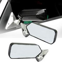 2Pcs Universal Carbon Fiber Car Auto Rearview Rear View Side View Mirror Cover Trim Glass Wide Angle Metal Bracket White/Blue