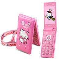 KUH D10 Vibrazione Dual SIM Card GPRS Respiro Luce touch screen Telefono cellulare della ragazza delle donne MP3 MP4 cartoon ciao kitty cellulare P297