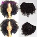 Malasia Kinky Rizado Clip En Extensiones de Cabello Humano Virgen Hair1 # 1b # Clip En Extensiones de Cabello Humano 7 unids/lote para negro