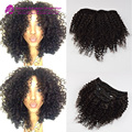 Malaysian Kinky Curly Clip In Hair Extensions Virgin Human Hair1# 1b#  Clip In Human Hair Extensions 7pcs/lot for black