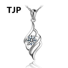 TJP Lovely Wing Shaped Pendants Necklace For Women Wedding Pure 925 Sterling Silver Choker Jewelry 2018 Hot Accessories