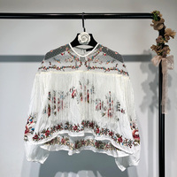 Luxury designer Blouse Top for Women Bohemia Ethnic Style Loose Embroidery Tassels Patchwork Mesh Perspective White Shirt