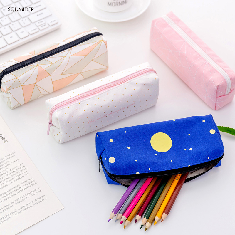 Creative Canvas Square Pencil Case Starry Sky Bag Concise For Girl Zipper Bag Stationery Pencil Bag School Supplies