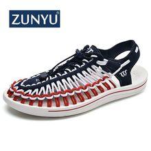 ZUNYU/Коллекция года; сезон лето; большие размеры 47; мужские сандалии; модные плетеные дышащие повседневные пляжные туфли ручной работы; уличные сандалии для мужчин
