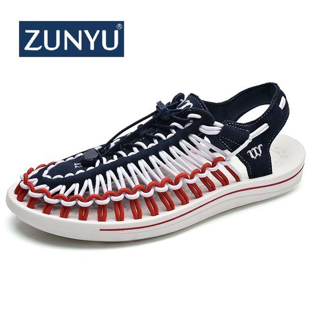 ZUNYU 2019 Summer Big Size 47 Men Sandals Fashion Handmade Weaving Design Breathable Casual Beach Shoes Outdoor Sandals For Men