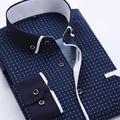 Nuevos Hombres Ocio Camisas Camasia Para Party Night Marca Camisa A Cuadros Camisa de Esmoquin Para La Boda Masculina Costura Oficina Camisa B003