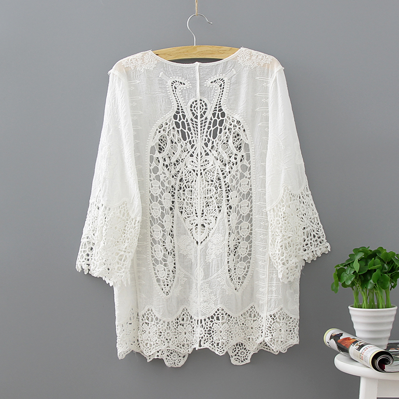 White Lace Hollow Out Half Sleeve Kimono Cardigan Blouse